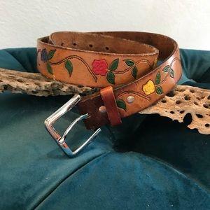 Vintage leather hand tooled belt